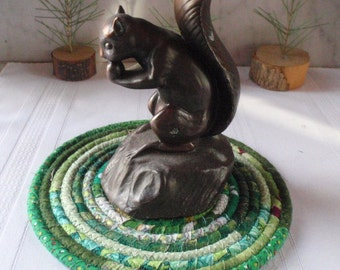 Bohemian Coiled Green Hot Pad, Trivet, Table Mat - Small Round - Handmade by Me