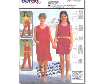 Girls Sewing Pattern Sleeveless Dress or Crop Top, Drawstring Pants, Panel Skirt Skort Burda 2755 Tween Girls Size 7 8 9 10 11 12 UNCUT