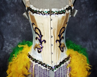 MARDI GRAS Circus Costume Dress Gold Purple Green Ringmaster Corset Feather Outfit