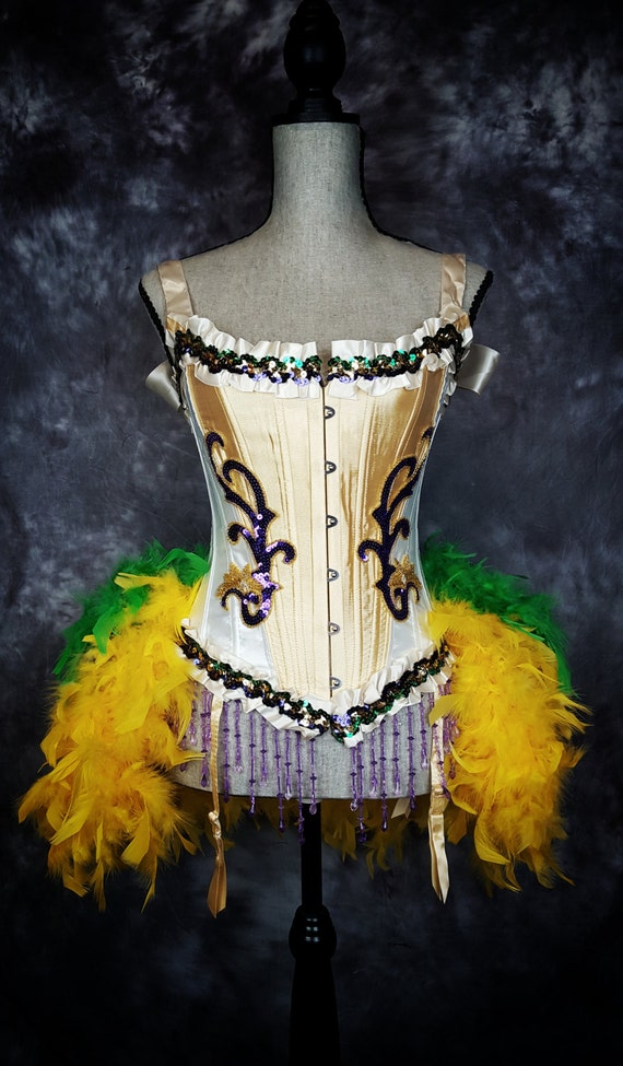 MARDI GRAS Costume Circus Dress Gold Purple Green Burlesque Corset Feather Outfit