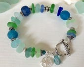 Sea Glass Bracelet - Blue Green White Aqua - Sterling Compass Charm & Toggle Clasp - WORLD TRAVELER