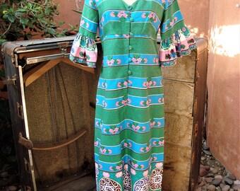 Mid Century 1960s Hawaiian Dress by Keone Sportswear Green Jahaca Prints Design Size 14