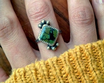 Hubei Green Turquoise Sterling Silver Stamped Ring - size 6.75 -7 - boho hippie jewelry ponderbird