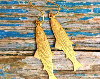 Gold Fish Earrings Summer Boho Earrings Gift for Her Fish Earrings Trout Fishing Goldfish Jewelry Fly Fishing Camping Hiking Forest