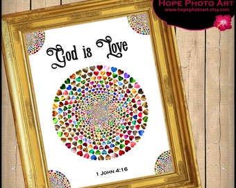 God Is Love Bible Scripture John 4:16 Digital Collage Sheet 8x10 Hearts Image Transfer Wall Art Instant Download Printable UPrint 300jpg