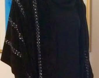 Handwoven Black Chenille Shawl