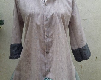 Upcycled Shirt Blouse Tunic Top Recycled Mix Size Medium - Large
