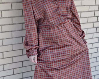 70s plus size clothing, shirtwaist dress plus size, XL vintage rust print dress, 1970s extra large tea length dress