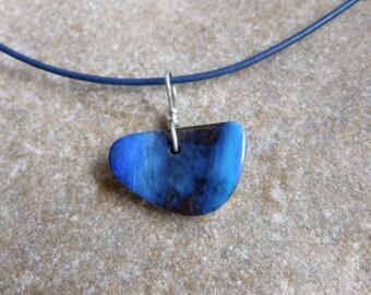 Blue Boulder Opal pendant necklace  - male men man guy jewelry - handmade in Australia - jewellery for man