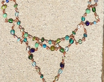 Beaded Copper Link Tassel Necklace in Blues and Greens