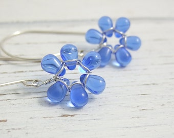 Earrings with Tiny Sapphire Blue Glass Teardrop Flowers on Large French Earring Wires FE-34