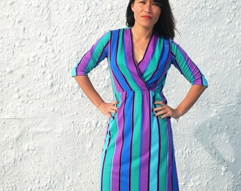 CLEARANCE Vintage 1970s Jewel Tone Striped Long Sleeve Secretary Dress by Charles Alan M/L