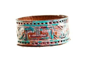 Native Jewelry Cuff Tribal Geometric Bracelet Turquoise Rustic Primitive OOAK