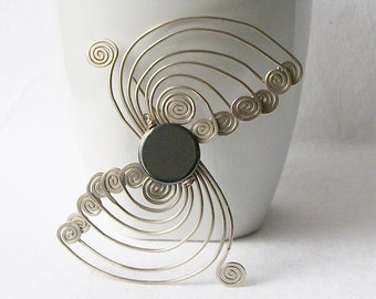 Vintage Hematite Wire Wrapped Brooch