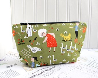 Green Garden Cosmetic Bag Makeup Bag Green Zipper Pouch Organizer Modern Print