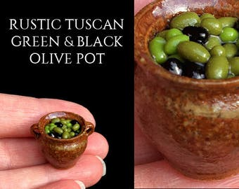 Rustic Tuscan Olive Pot - Elisabeth Causeret Pottery - Artisan fully Handmade Miniature in 12th scale. From After Dark miniatures.