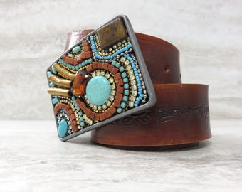 "Western Belt Buckle in Turquoise & Brown (3.5"" by 2.5"")-Womens Buckle with Semi Precious Tigers Eye, Turquoise, and Rhinestones 4250-BUCK"