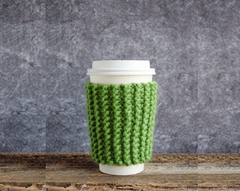 Greenery Coffee Cozy, Chunky Knit Coffee Sleeve, Cup Cozy, Coffee Mug Cozy Coffee Cup Cozy Coffee Cup Sleeve Greenery Decor Greenery Wedding