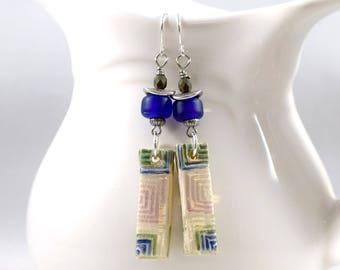 Blue White and Green Ceramic Earrings, Ceramic Earrings, Artisan Earrings,  Boho Chic Earrings,Silver Earrings,Blue and Green Earrings,AE217