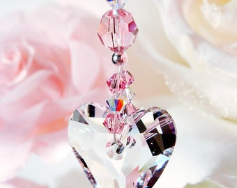 Crystal Suncatcher Rear View Mirror Charm Pink Car Accessories Swarovski Crystals