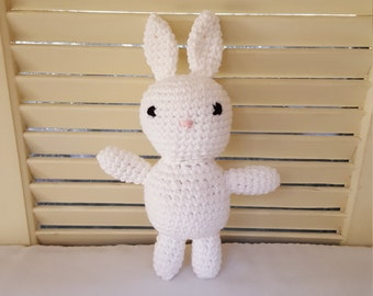 White Bunny Rabbit Stuffed Animal Crochet Toy/ Amigurumi Plush Doll/ Handmade Toys/ Easter Bunny/ Gift For Kids