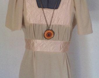 vintage 70s dress, beige 70s dress, long beige dress,MADE IN ENGLAND,  70s costume, beige maxi dress, beige boho dress,