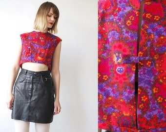 60s psychedelic crop top. red and purple printed top. sleeveless top with bow back - large, xl