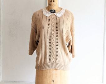 vintage 80s loose knit cotton sweater lace collar medium - large