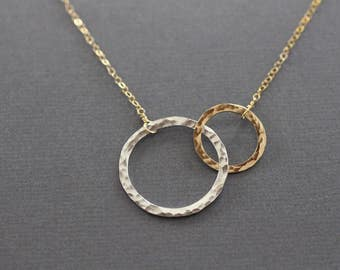 two circles necklace, sterling silver and gold fill, two tone, mixed metals, hammered, shiny, simple, classic, everyday, wedding