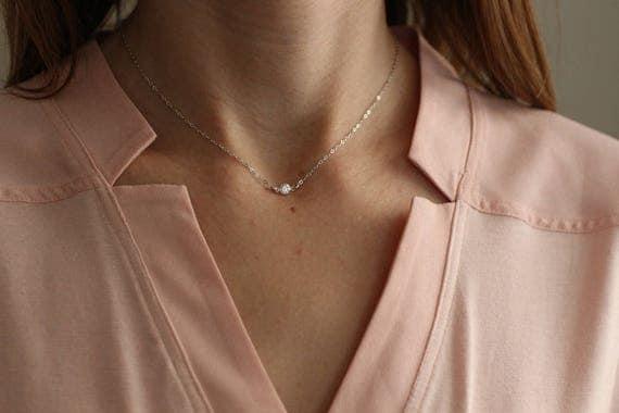 Collier ras du cou petit diamant