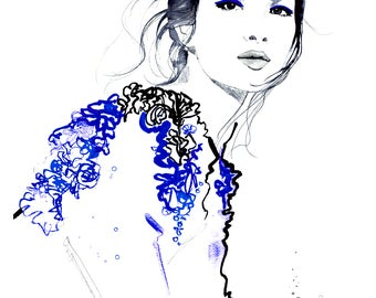 Cobalt Sleeves, print from original watercolor and mixed media fashion illustration by Jessica Durrant