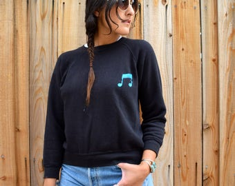 Vintage 80s Black MUSIC NOTE Pullover Sweatshirt S