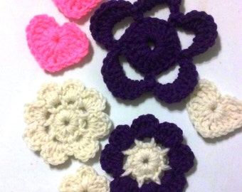 Destash - Grab bag 1, Flowers, Appliques, Embellishments, Acryllic, Crochet Flowers,
