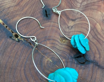 Authentic Turquoise. Sterling Silver Hammered Ear Wires. Hand Crafted