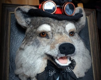 Needle Felted One of a kind Wool Faux Taxidermy Wolf Steampunk Soft Sculpture by Bella McBride of McBride House