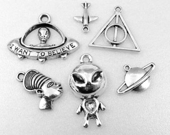 6 Assorted ANCIENT ALIENS Charms in Antique Silver, Charm Collection Set - Alien, Flying Saucer, Planet, Pyramid, Egypt Pharoah Space