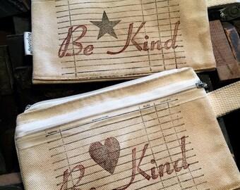 Be Kind Letterpress canvas pouch