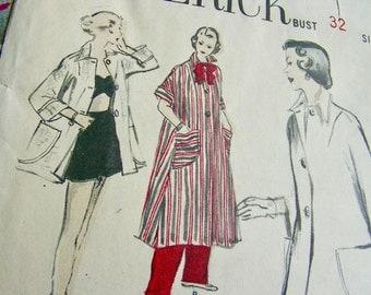 UNCUT * 1940's Butterick Pattern 4923  -  Misses' High Fashion Dress Coat, Coverup, Housecoat, Tent Dress  - Size 14..bust 32