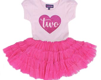 Sale, 2nd Birthday Outfit, Second Birthday Dress, Hot Pink Dress, Pink tutu for girls 2nd birthday, Birthday Girl