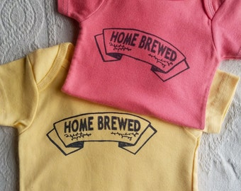 ORGANIC COTTON - Home Brewed - Baby Onesie - Hand Screenprinted - Eco Friendly - Infant Clothing - Baby Shower Gift -  handmade - home brew