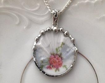 Broken China Jewelry pendant necklace antique Edwardian era fine bone china porcelain with pink rose