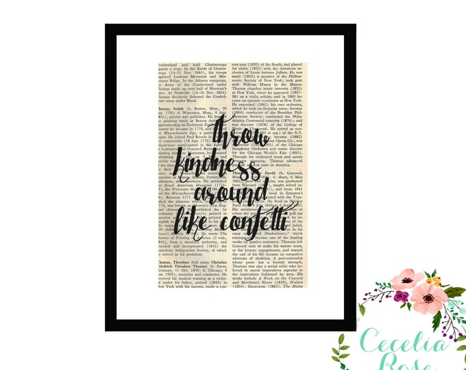 Throw Kindness Around Like Confetti Inspirational Upcycled Vintage Book Page Box Frame or Print