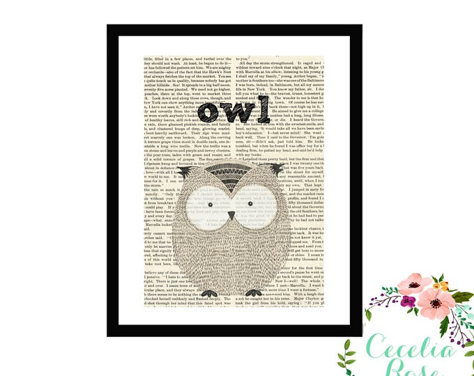 Owl Book Art Vintage Book Art Cute Simple Box Frame or Print Farmhouse Style