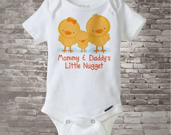 Cute little chicken nugget Onesie Bodysuit or Tee Shirt, Says Mommy and Daddy's Little Nugget with baby chick. 12082015b