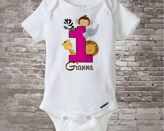 Girl's One Year Old Jungle Birthday Shirt or Onesie with Name, 1st Birthday Shirt, Personalized Jungle Birthday Theme 01222013b