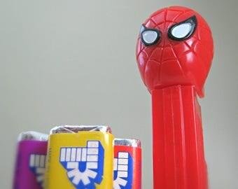 Vintage PEZ Dispenser, Spiderman, Marvel Comics Superhero - 80s Spiderman PEZ Dispenser with Candy - Peter Parker, Spiderman Toy for Kids