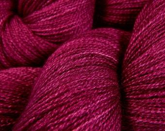 Hand Dyed Yarn - Lace Weight Superwash BFL Wool Silk Yarn - Plumberry Semi-Solid - Luxury Knitting Yarn, Lace Yarn, Tonal Laceweight Yarn