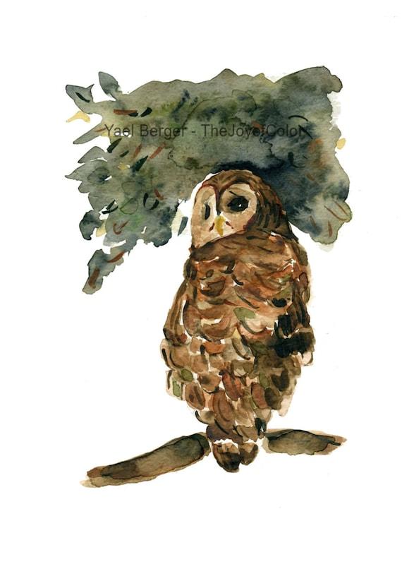 The Grumpy Owl, owl art Print, print of watercolor, owl Halloween art, autumn, Brown, Green, woodland, bird art, Natural history