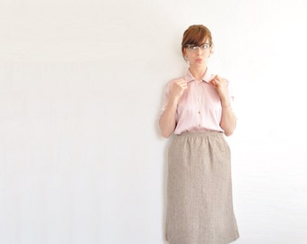 pale pink St John blouse . thick silk long sleeve shirt . preppy gold buttons .medium .sale