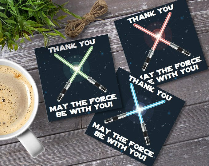 Star Wars Square Favor Tags - Thank You Tags, Birthday Party Favors, Star Wars Birthday   Editable Text - DIY Instant Download PDF Printable